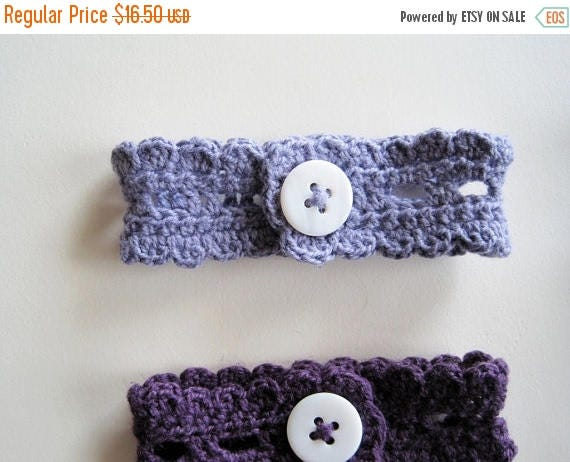 May Sale - 20% off Button Lace Wrist Cuff in Greyed Lavender Cotton