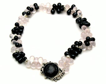 Black Spinel and Rose Quartz Choker Necklace Semi-Precious  Stone  and Sterling Silver for Her Under 900 Free US Shipping Gift Wrap High End