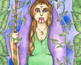 Priestess Goddess Art Original Watercolor Painting Druidess Fantasy Art Mystical Divine Feminine Sacred Spiritual Art Pagan Mythology Altar