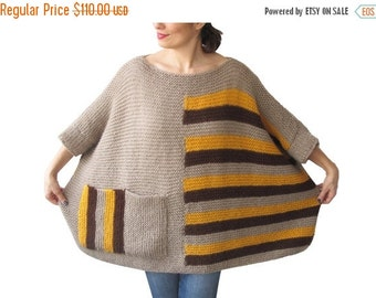 50% CLEARENCE Plus Size - Over Size Sweater Beige, Brown, Yellow Hand Knitted Sweater with Pocket Tunic - Sweater Dress by Afra