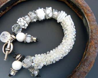 Lampwork Glass and Bead Crochet Bracelet in Crystal Clear