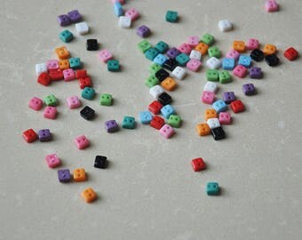 100pcs+ 5mm Square Buttons for Baby/Babydoll Clothes