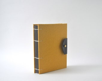 Saffron Yellow Hand Bound Coptic Journal, Handmade Journal with Reclaimed Leather and Brass Button