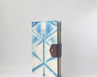 White & Indigo Handbound Journal with Reclaimed Leather, Hard Cover Sketchbook with Hand Dyed Covers