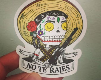 Adelita Calavera Clear Vinyl Sticker Day of the Dead