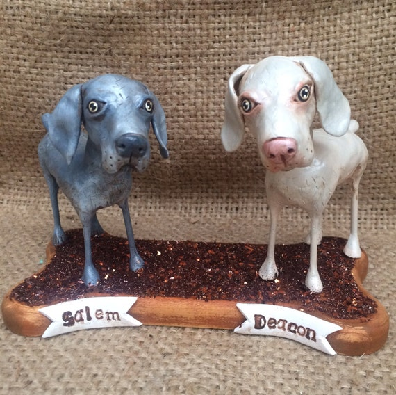 Two Customized Pet Dogs clay folk art sculpture on Wooden  Bone Base Pet Portrait