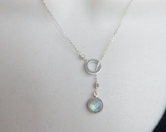 Sterling silver lariat necklace with labradorite round charm.
