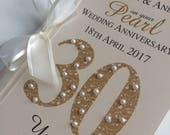 Pearl Wedding Anniversary Card - Personalised with Names and Date