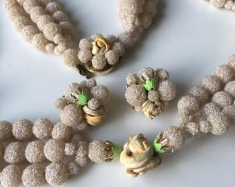 Vintage Japanese Necklace and Earring Set. Pale Green