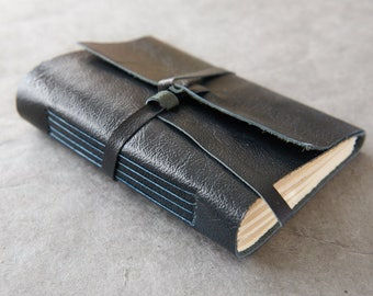 Personalizable Leather Journal or sketchbook - Midnight Blue 5x7