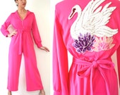 SPRING SALE/ 20% off Vintage 70s Swan Queen Hot Pink Sequined Applique Palazzo Pant Jumpsuit (size small, medium)