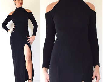 SUMMER SALE / 20% off Vintage 80s 90s TADASHI Black Long Sleeved Body Con Evening Gown with Cut Out Shoulders (size xs, small)