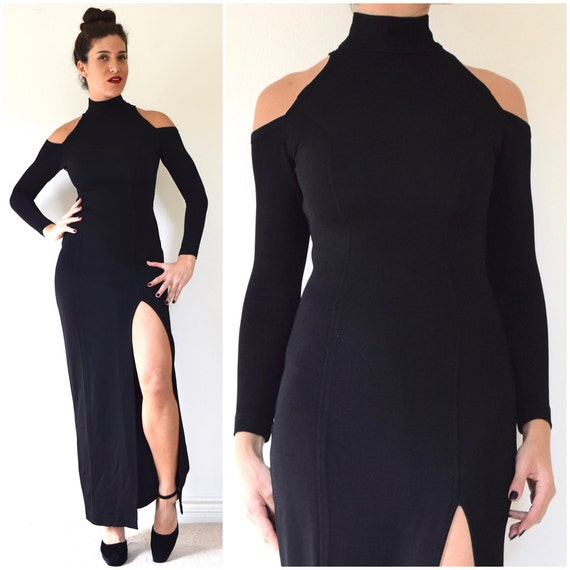 SPRING SALE/ 20% off Vintage 80s 90s TADASHI Black Long Sleeved Body Con Evening Gown with Cut Out Shoulders (size xs, small)