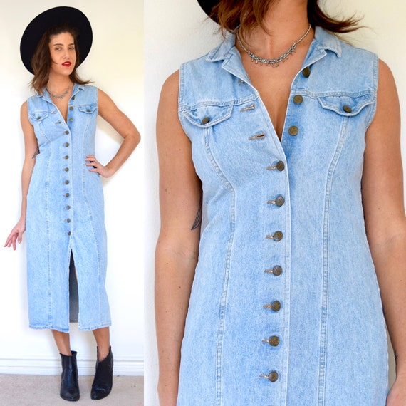 SPRING SALE/ 20% off Vintage 90s Stone Wash Denim Sleeveless Button Down Tie Back Midi Dress (size small, medium)