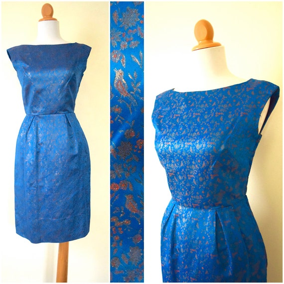 Vintage 60s Cerulean Blue Metallic Floral Silk Brocade Wiggle Dress (size xs, small)
