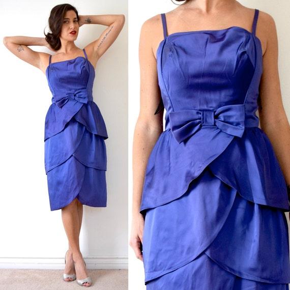 SUMMER SALE / 20% off Vintage 60s Iris Purple Satin Scalloped Tulip Skirt Cocktail Dress (size small, medium)