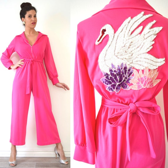 Vintage 70s Swan Queen Hot Pink Sequined Applique Palazzo Pant Jumpsuit (size small, medium)
