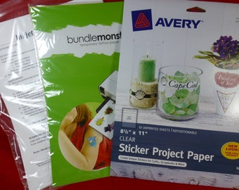 3 Pack FUN INKJET PROJECTS Stickers, Temporary Tattoos, Waterslide Decals, Picture Paper - Free Shipping