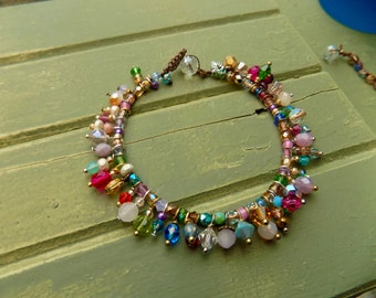 Frills crocheted natural bracelet, natural earthy jewelry with color