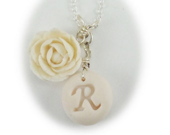 Personalized Peony Initial Necklace - Peony Jewelry Collection