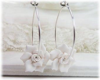 Gardenia Hoop Earrings - White Flower Hoops, Gardenia Jewelry