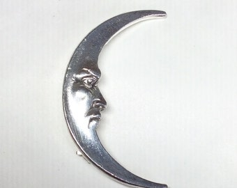 Art nouveau style moon brooch pin, man in the moon silver plated