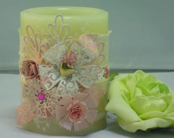 Decorated Candle, battery operated flameless candle.