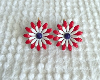 Vintage Enamel Flower Earrings - Red White and Blue - Perfect for summer holidays