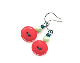 Fun Vintage Button Dangle Earrings with bright red, mint green, and teal blue