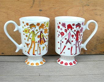 MOD 60s Smug Mugs, Royal Crown Arnart, Rendezvous by Kitty, Lot of 2 Pedestal China Coffee Cups,Colorful Red Orange Boy Girl Flowers 11 Oz