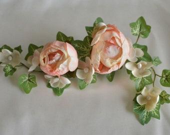 Blush Bridal Hair Clip, Floral Hair Accessory, Peach, Ivy, Rose Bridal Comb, Wedding Hair Accessory, Bridal Fascinator, Bridal Hair Vine