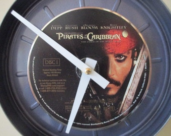 Pirates of the Caribbean Movie Clock - Johnny Depp - Repurposed DVD / Movie Reel Canister - Free Shipping