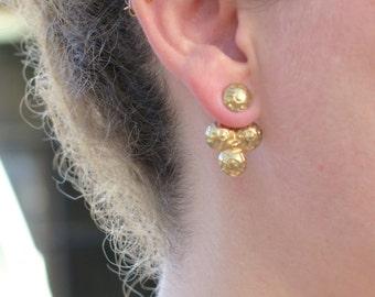 Gold Ear Jacket, Gold Ear Cuff, Round Stud, Geometric Earrings, Minimalistic, Modern Jewelry, Holidays Gift