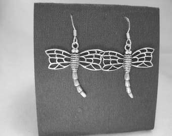 Sterling silver dragonfly earrings- beautiful lacy wings-free shipping