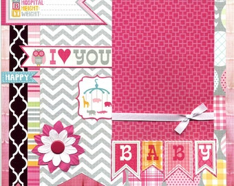 Baby - I Love You - 12x12 Premade Baby Girl Scrapbook Page