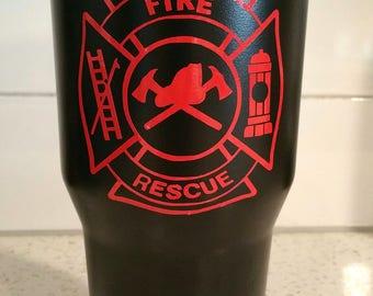 Fire Rescue Stainless Steel Tumbler - Ozark Trail - 30 oz - Customized w/ Name