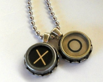 HOLIDAY SALE Typewriter Key Necklace, Hugs and Kisses - or, any two letters of your choice