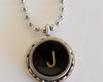 SALE Typewriter Key Necklace, Letter J, Vintage, Initial Jewelry,  All Letters Available, Typography Jewelry,