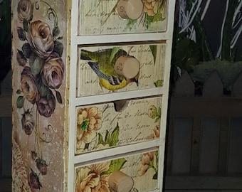 Bird house Box, 5 drawer, Decorated box, flowers, box, shabby decor, box, keepsake box, organization, reclaim, refurbish, garden room