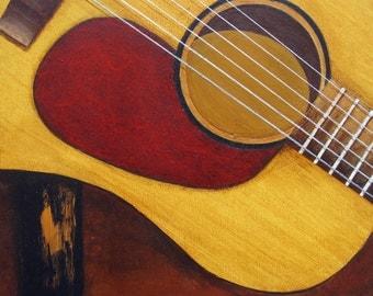 "6x6"" Giclee Print Guitar Art Martin DM Music Instruments by RSalcedo FFAW Free Shipping"