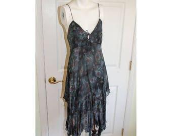 Vintage 70's Layered Hankie Hem Gypsy Dress with Jacket XS