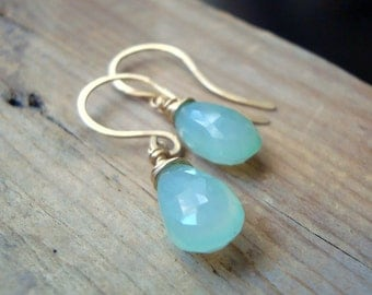 Seafoam Chalcedony Earrings, 14K Gold Fill Modern Gemstone Earrings Gifts Under 50 Wire Wrapped Simple Bridesmaid Jewelry Spring