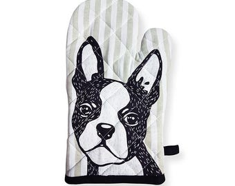 Hello Boston Terrier Oven Mitt