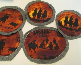Quilted Cowboy Campfire Coffee Break customizable Fringed Tea Set for toddlers or Adults Free Shipping