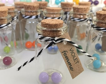 "Violet Glass Stud Earrings / ""Violet Femme"" / Glass Bottle with Cork Top / Makes a great Stocking Suffer / Bridesmaid Gifts"