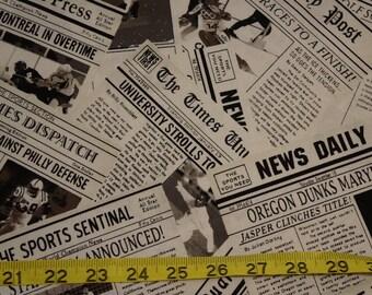 Newspaper Newsprint Hearld Times Press Fabric - 1 yard