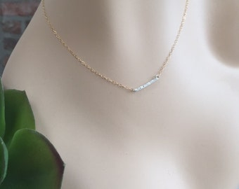 Drilled Bar Two Tone Elegant Layered Necklace