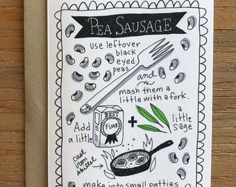 Pea Sausage Illustrated Recipe A6 Greeting Card