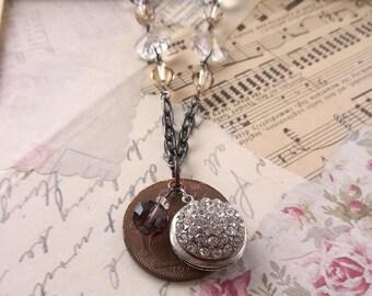Unique coin and rhinestone locket pendant necklace