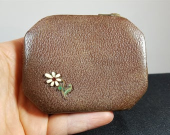 Vintage Leather Compact with Metal Enamel Flower 1930's